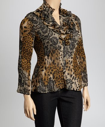 Beige & Black Leopard Small Cascade Crinkle Top - Plus