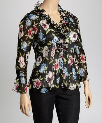 Black & Red Floral Ruffle Crinkle Top - Plus