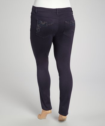 Blue Embroidered Premium Denim Jeans - Plus