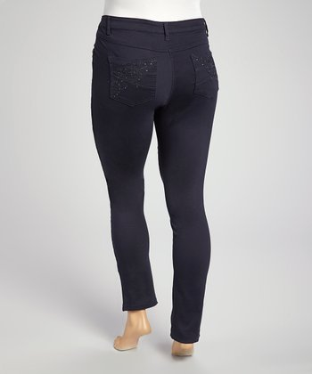 Blue Rhinestone Premium Denim Jeans - Plus
