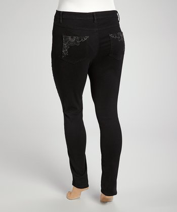 Black Embroidered Premium Denim - Plus