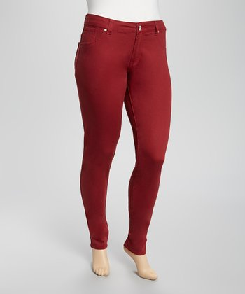 Dark Red Twill Skinny Pants - Plus