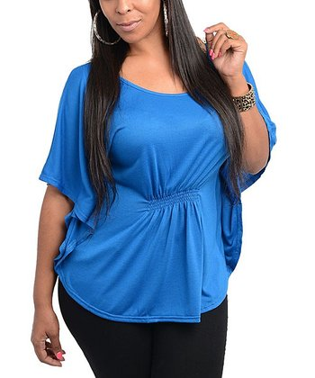 Royal Blue Cape-Sleeve Top - Plus
