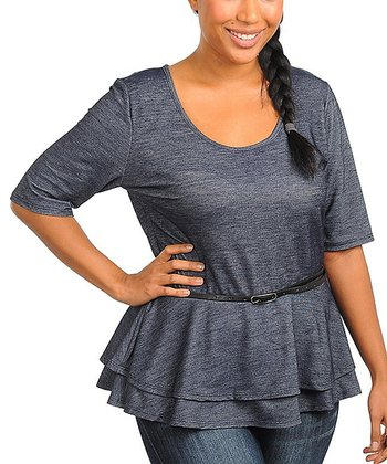 Denim Blue Peplum Top - Plus