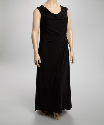Black Drape-Neck Maxi Dress - Plus