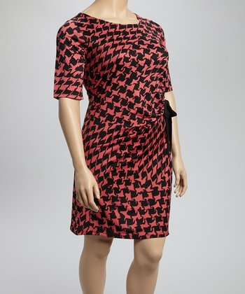 Black & Pink Houndstooth Dress - Plus