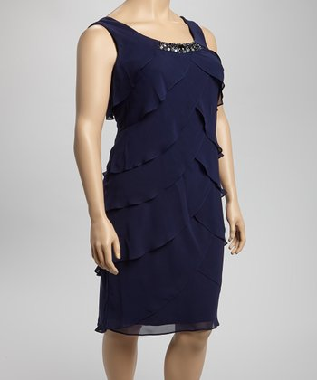 Navy Rhinestone Ruffle Dress - Plus