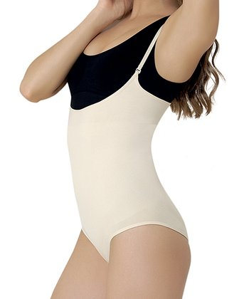 Beige Under-Bust Shaper Bodysuit - Women & Plus