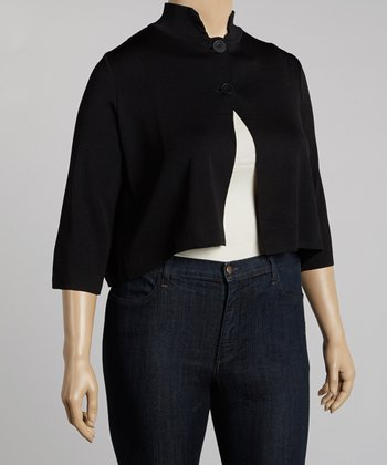 Black Mock Neck Cardigan - Plus