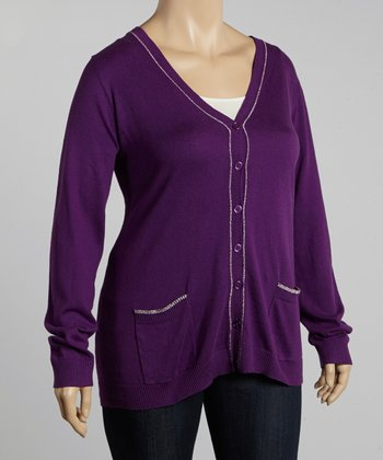 Purple V-Neck Cardigan - Plus