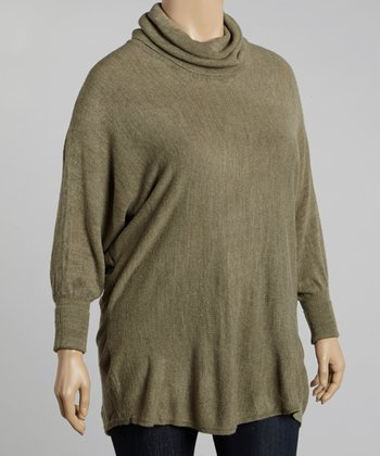 Olive Cowl Neck Dolman Top - Plus