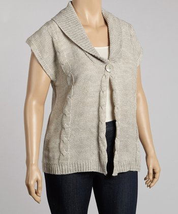 Gray Cable-Knit Short-Sleeve Cardigan - Plus
