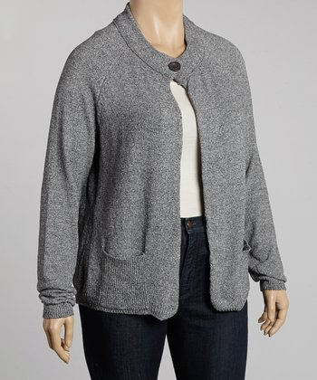 Gray Marled One-Button Wool-Blend Cardigan - Plus
