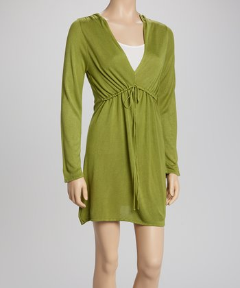Olive Empire Waist V-Neck Dress