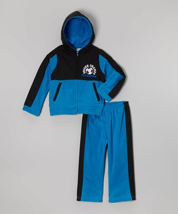 Blue 'Soccer' Zip-Up Hoodie & Track Pants - Toddler & Boys