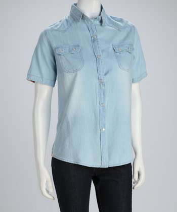 Blue Chambray Short-Sleeve Button-Up Top