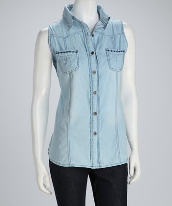 Blue Chambray Sleeveless Button-Up Top