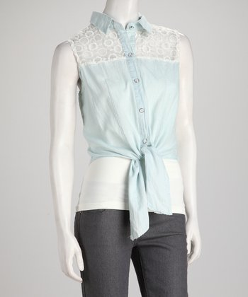 Denim Blue Lace Tie Tank