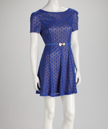 Blue Polka Dot Lace Short-Sleeve Belted Dress