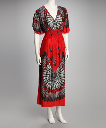 Red Feather Shirred Cape-Sleeve Maxi Dress