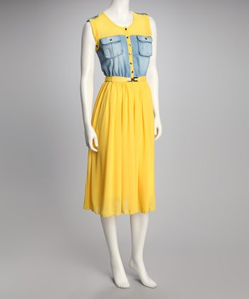 Yellow & Denim Button-Up Belted Dress