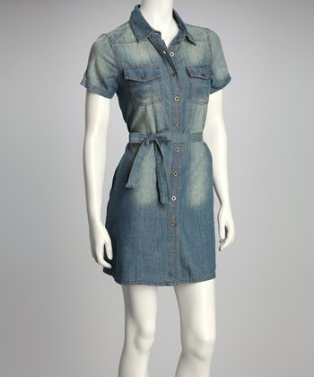 Light Blue Denim Tie-Waist Button-Up Dress