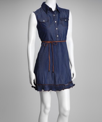 Blue Denim Ruffle Belted Dress