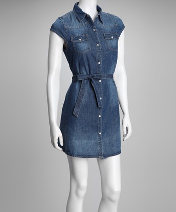 Blue Denim Tie-Waist Button-Up Dress