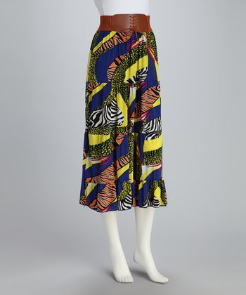 Royal Zebra Belted Maxi Skirt