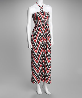 Red Zigzag Shirred Halter Maxi Dress