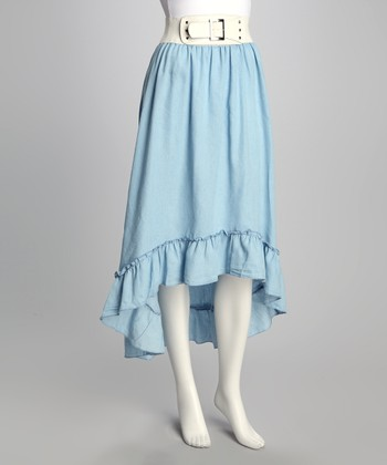 Blue Hi-Low Ruffle Belted Skirt