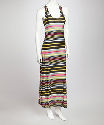 Black & Yellow Stripe Maxi Dress
