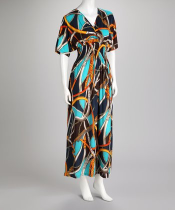 Turquoise & Gold Abstract V-Neck Maxi Dress