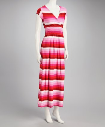 Red Stripe Surplice Maxi Dress