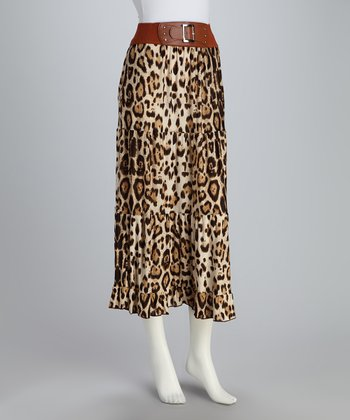 Brown Exaggerated Leopard Maxi Skirt