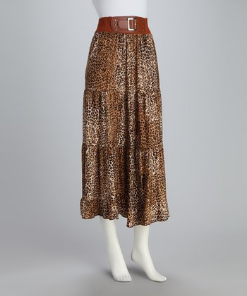 Brown Leopard Maxi Skirt