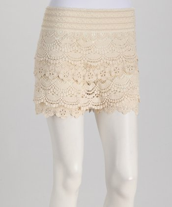 Ivory Scalloped Crochet Lace Shorts