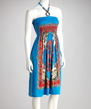 Blue Shirred Status Halter Dress
