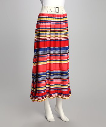 Blue Stripe Ruffle Belted Skirt