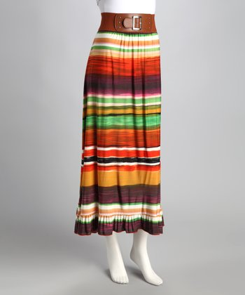 Orange Stripe Maxi Skirt