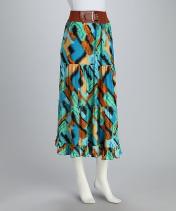 Turquoise Abstract Belted Maxi Skirt