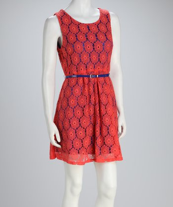 Coral Flower Belted Dress