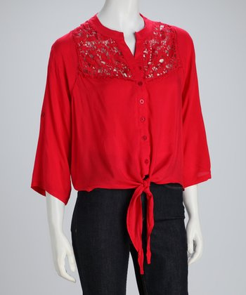 Red Tie-Waist Button-Up Top