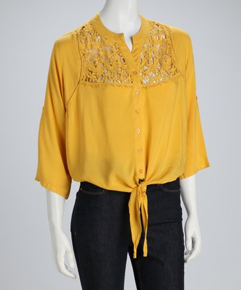 Yellow Tie-Waist Button-Up Top