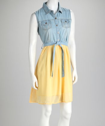 Yellow & Denim Front-Tie Dress