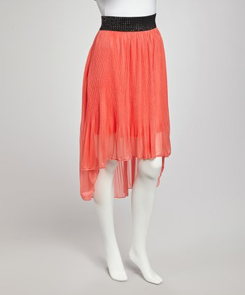Coral Sheer Hi-Low Skirt