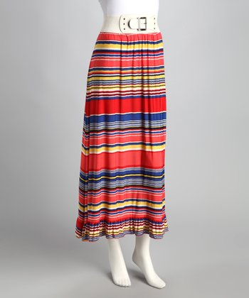 Red Stripe Ruffle Maxi Skirt