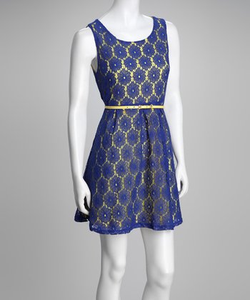 Blue Flower Lace Belted Dress