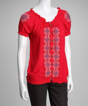 Red Embroidered Peasant Top