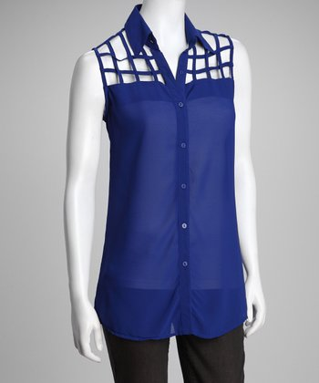 Blue Lattice Sleeveless Top